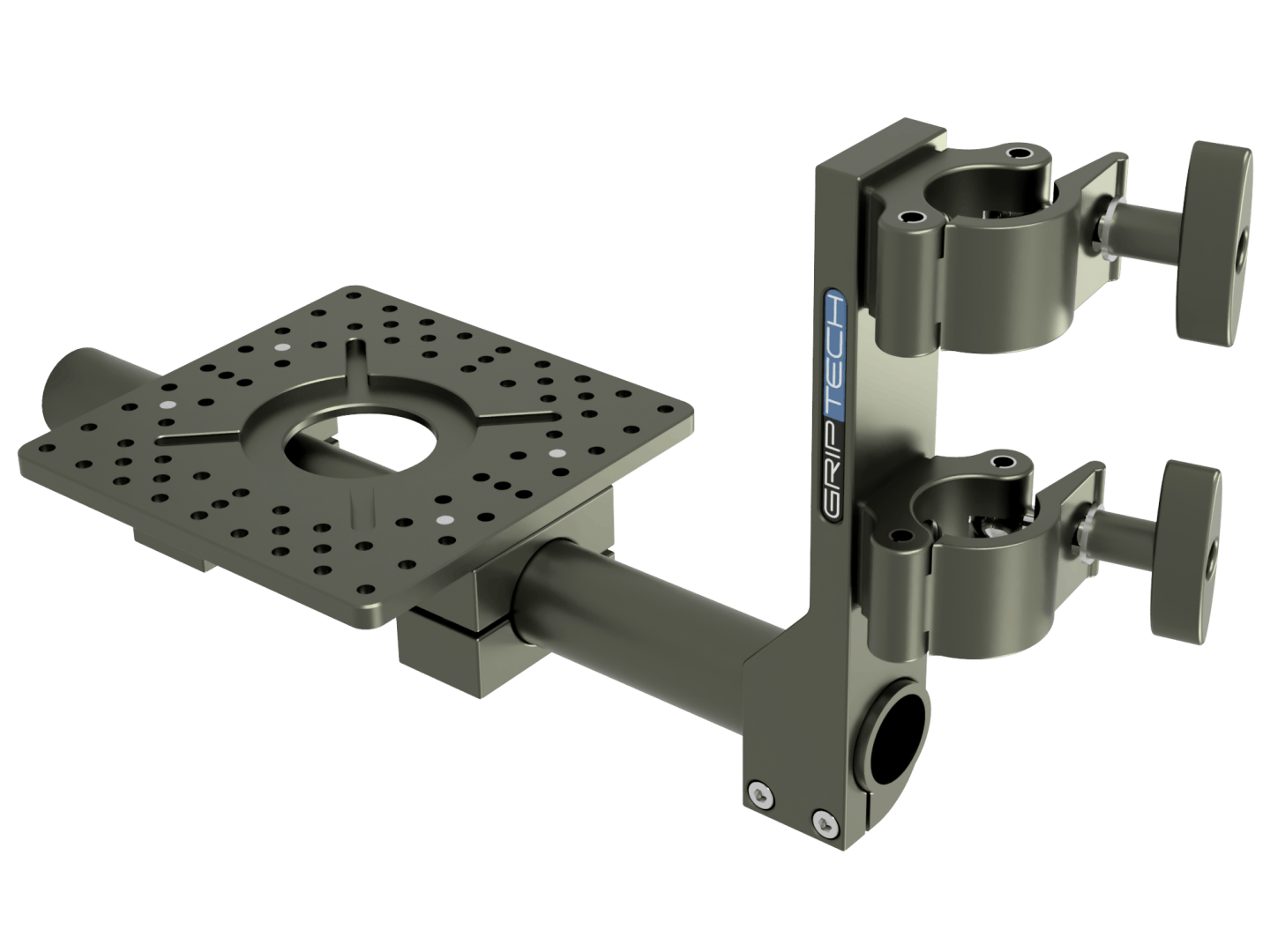 """T Bar Bracket<span style=""""font-size:12px""""><br>+ 2 Scaff Split Clamps <br> + 1 Small Mounting Plate</span>"""
