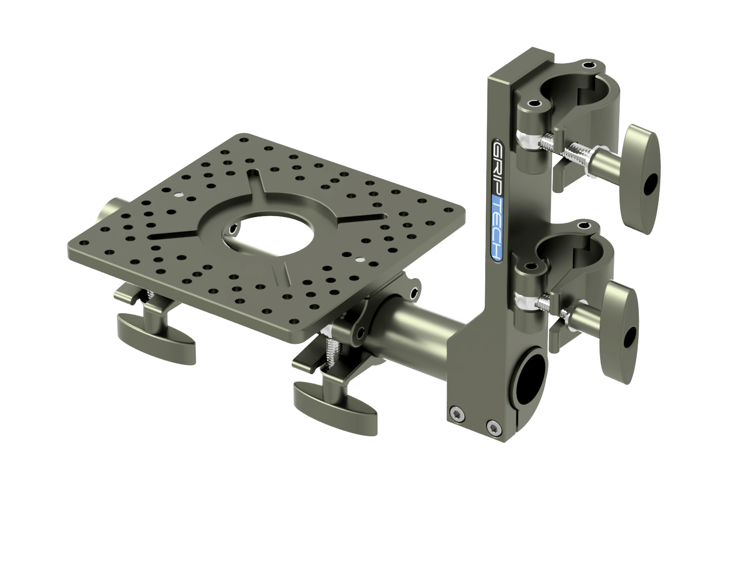 T Bar Bracket+ 1 Scaff Tube (L=600mm) + 1 Small Mounting Plate  + 2 Scaff Half Clamps