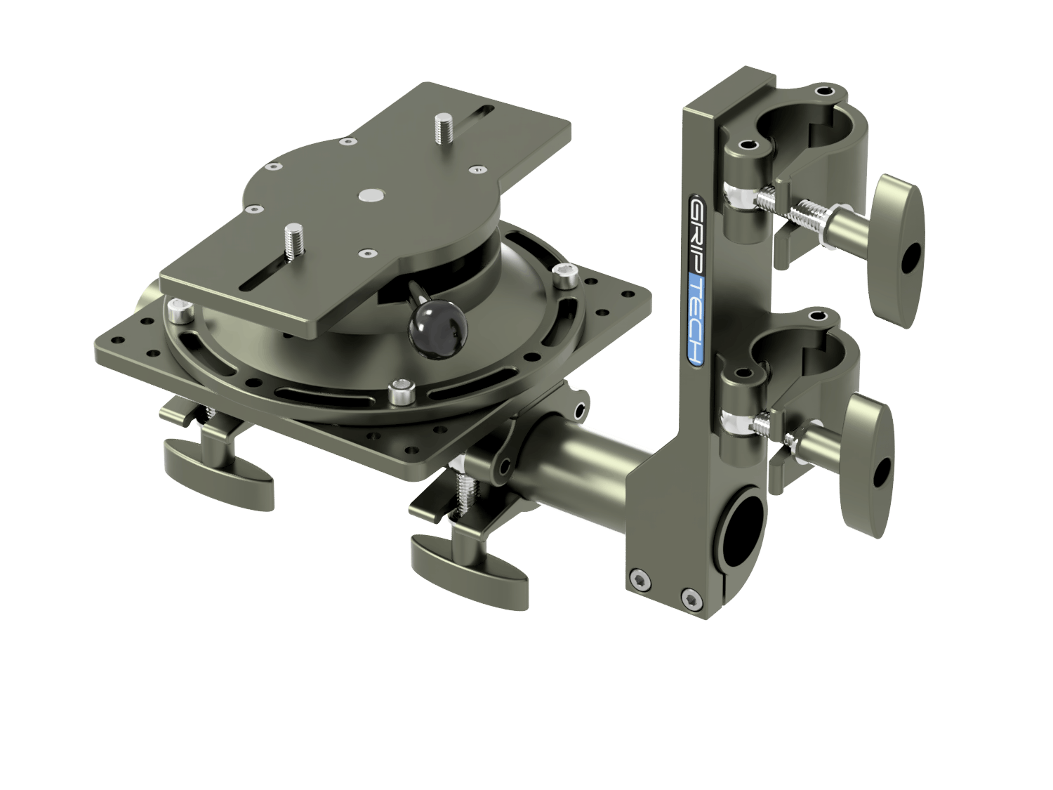 T Bar Bracket+ 1 Scaff Tube (L=600mm) + 1 Small Mounting Plate  + 2 Scaff Half Clamps + 1 Leveling Head